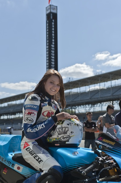 Elena Myers relaxes into her role as female MotoGP rider for the day - MotoGeo